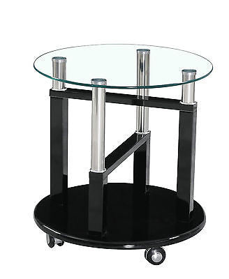 Black,Brown,Cream,White,Red High Gloss Clear Glass Side End Table on Wheels