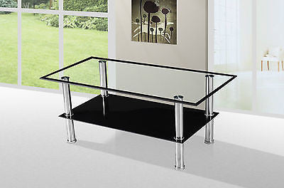 Lequin Black Border Tempered Glass Small Coffee Table