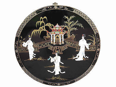 Hand Painted Black Oriental Chinese Lacquered with MOP wall picture Diameter 91cm