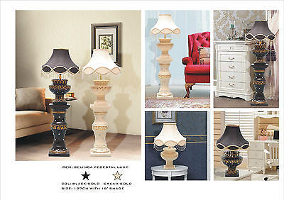 "BELINDA Lamp | Available in Cream-Gold, Black-Gold | With Diamante and 16"" Fancy Shade 