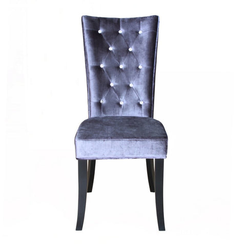 Pair (x2) Crushed Velvet Chairs with Crystal Diamanted Buttons in Black Grey and Purple