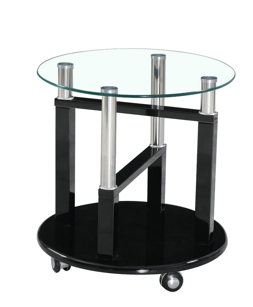 High Gloss Clear Glass Side End Table available in Black Brown Cream White & Red  on Wheels