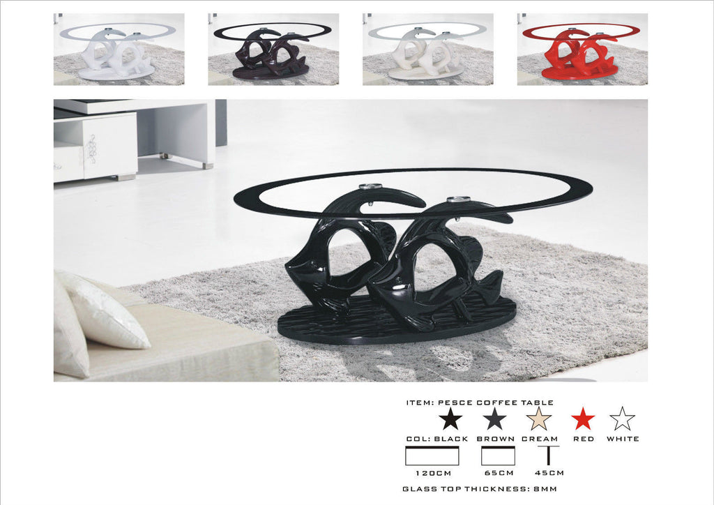 High Gloss Glass Coffee Table, Unique Design Stylish Table available in Black Brown Cream & White.