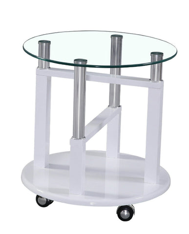 Side table with lockable wheels and clear glass top, available in 5 different colours Black, Brown, Cream, Red, White