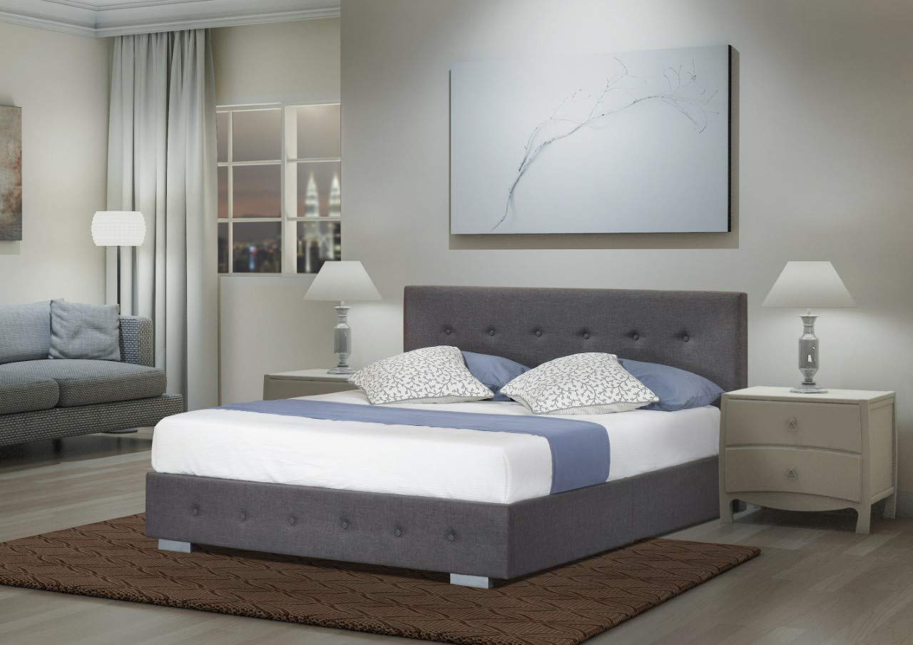 GREY OTTOMAN | Storage Bed Sizes: Small Double, Double, King | Silver finished Feet | Stunning Modern Design |