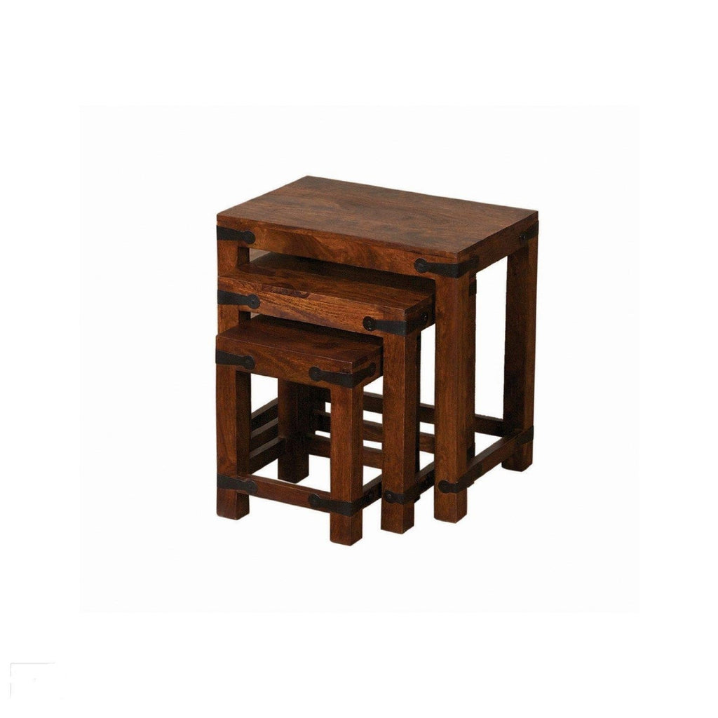 Solid wood Indian Nesting table sets of 3 Solid Sheesham Wood Jali Furniture
