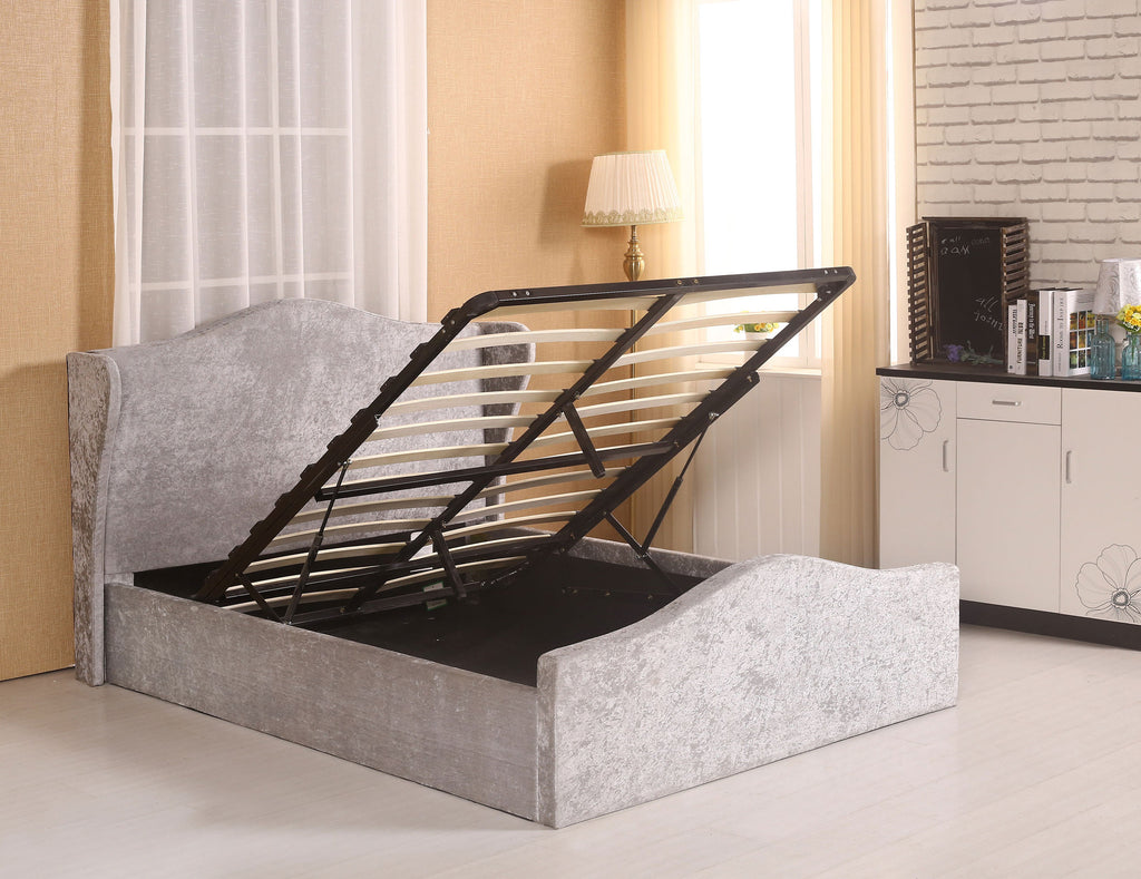 MODERNIQUE® Adore Crush Velvet Upholstered Double Bed with Ottoman Storage, Gas Lift Up Mechanism with Support Legs and Middle Bar Available in Black Silver and Cream