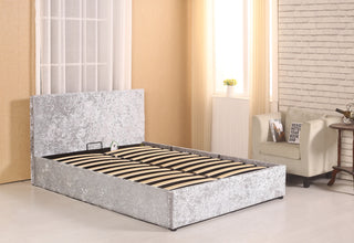 Letto Crush Velvet Upholstered Single Double & King Size Bed with Ottoman  Storage, Gas Lift Up Mechanism with Support Legs and Middle Bar Available  in ...