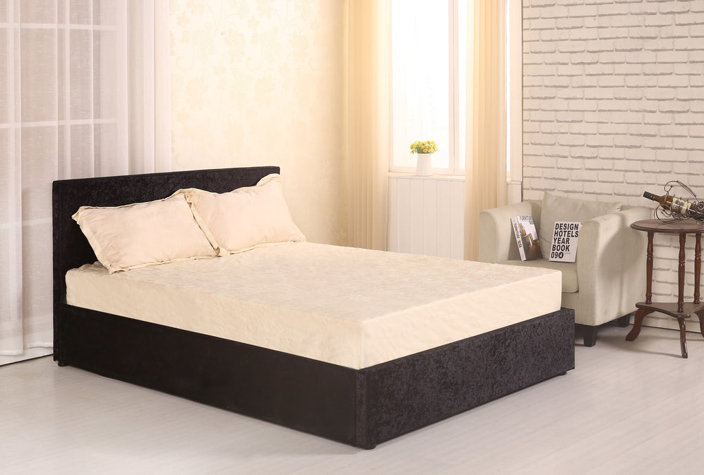 Letto Crush Velvet Upholstered Single Double & King Size Bed with Ottoman Storage, Gas Lift Up Mechanism with Support Legs and Middle Bar Available in Black Silver & Cream