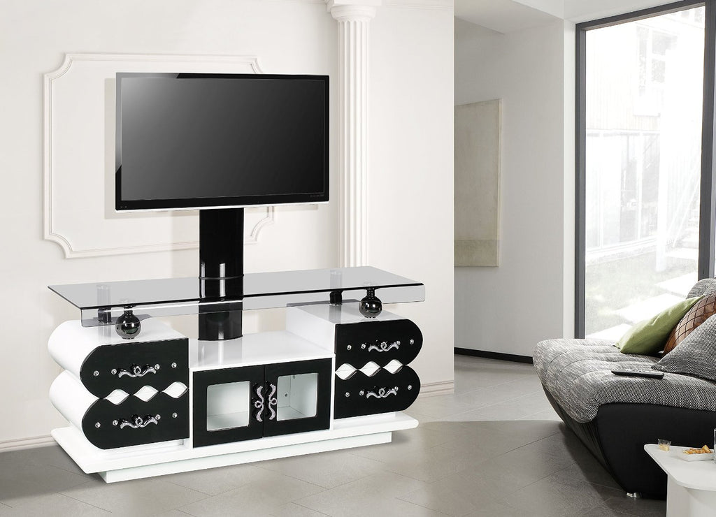 White-Black Stunning TV Unit with Brackets, Enough space for TV box, Xbox, Blu Ray Player and DVD storage
