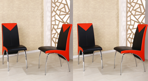Charming Faux Leather Foam Padded Dining Chairs In Black White And Black Red,  ...
