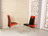 Charming Faux Leather Foam Padded Dining Chairs in Black-White and Black-Red, Available in set of 2 or 4