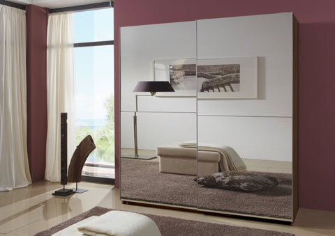 German made Sliding Doors Wardrobe Full Mirror 180 cm in walnut
