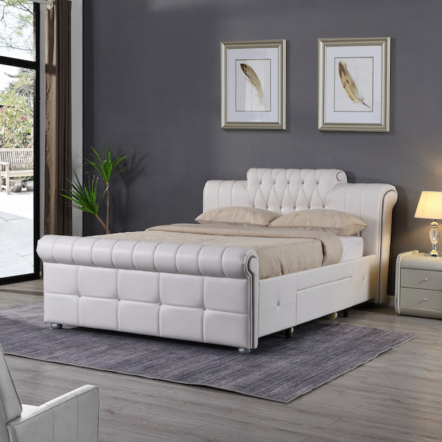 TIVONA Bed | Faux Leather | High Base with 2 Drawers | Bed Frames Sizes: Double and King | Colours: Black or White |