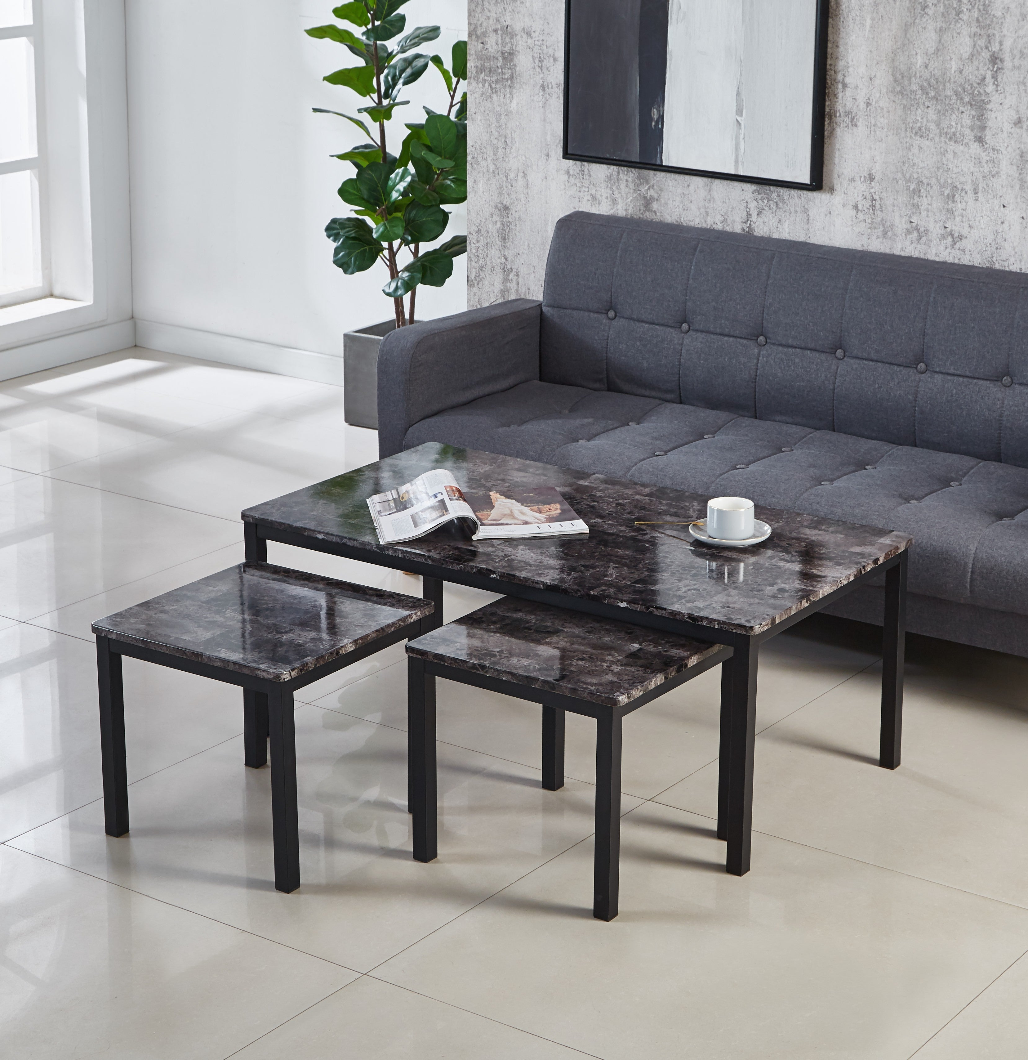 Emillia Mdf Marble Effect Coffee Table Coffee Table With 2 Side Table Modernique