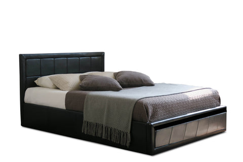 Modern Double & Small Double Bed in Black Faux Leather Gas Lift Up Storage Bed, massive storage underneath