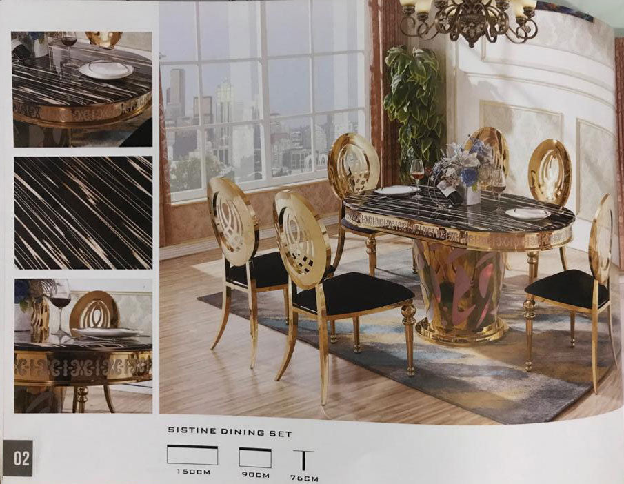 Marble Dining Table Gold Accents Frame With 6 Matching Chairs