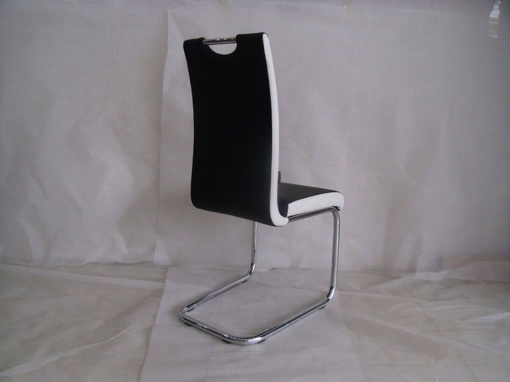 Primo Faux Leather Foam Padded Primo Dining Chair Available in Black & White Chrome Frame