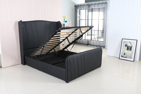 MODERNIQUE® VERO High Headboard Ottoman Storage Bed Double and King Sized Available in Black Brown and White