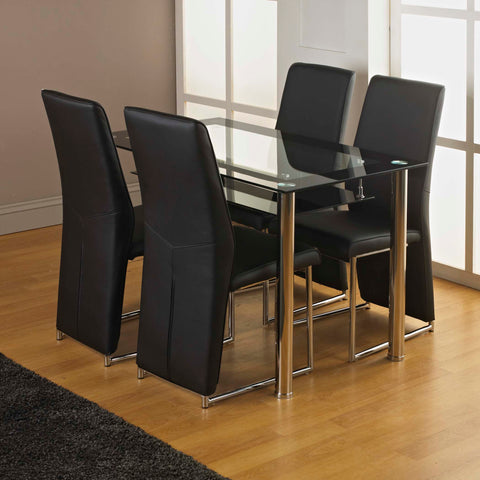 MODERNIQUE® Glass Dining Table and 4 Angela Chairs Set, Table with Faux Leather Thick Foam Padded Chairs with Chrome Frame Available in Black