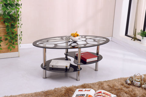Merito Black Border Tempered Glass Coffee Table with Shelf