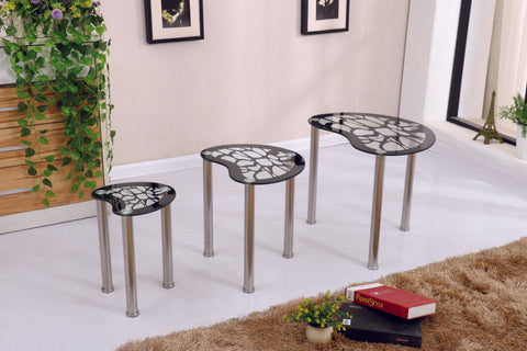 Pattern Design Nest of Table Set of 3 with Chrome Frame Available