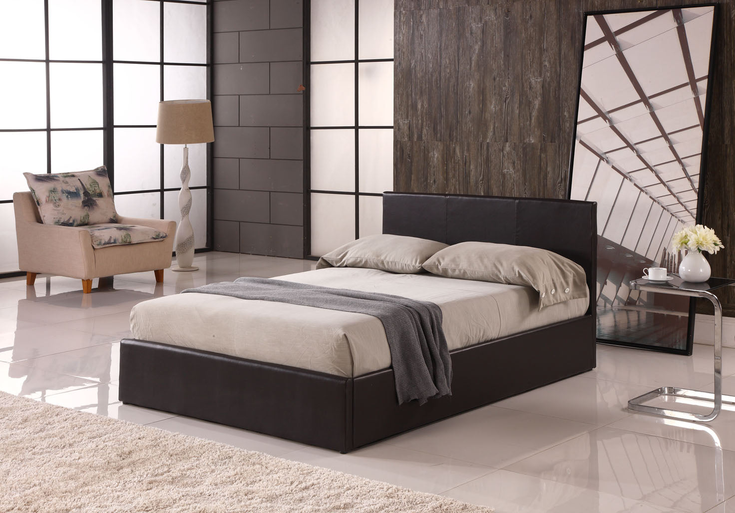 OTTOMAN | Faux Leather Storage Bed | Colours: Black, Brown and White | Sizes: Single (3ft), Small Double (4ft), Standard Double (4ft6), King (5ft) and Super-King (6ft) |