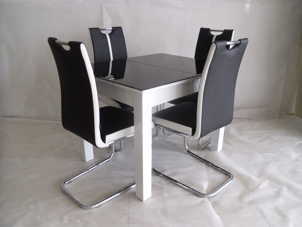 Black-White Primo Extending Dining Table and 4 Chairs Sets ...
