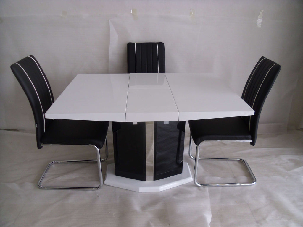 Extending Central Part White Dining Table And 4 Chairs