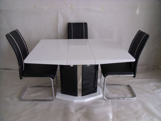 Extending Central Part White Dining Table And 4 Chairs Modern Desig Modernique