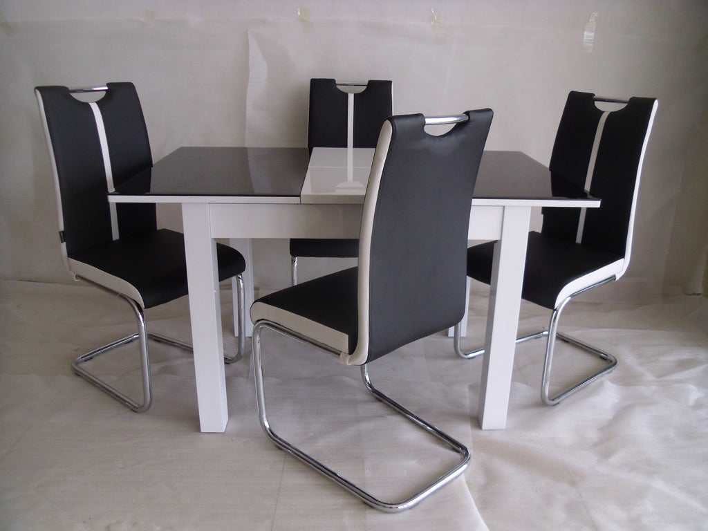 Black Extendable Dining Table black-white primo extending dining table and 4 chairs sets