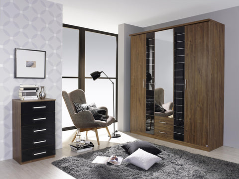German 5 Door Wardrobe with a Mirror Door and 2 Drawers, Cloth Hanging Rail Shelf Included, Combi Hinged 5 Doors Available in White and Walnut