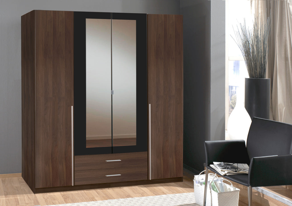 german wimex 3 and 4 doors in white and walnut wardrobe. Black Bedroom Furniture Sets. Home Design Ideas