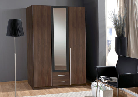 German Wimex 3 and 4 Doors in white and Walnut Wardrobe Sale Furniture