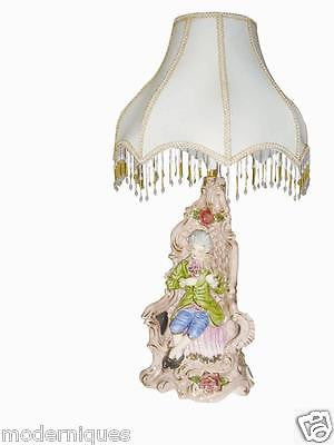 Capodimonte Style Hand Painted Figurine Lamp With Fancy Beaded Shade