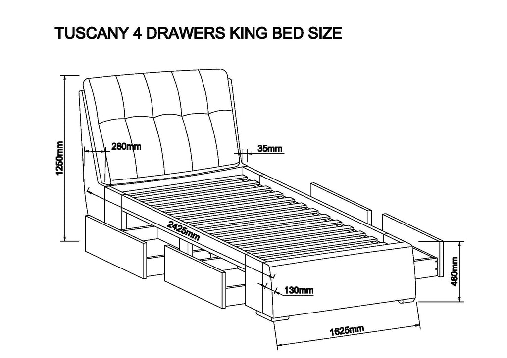 MODERNIQUE Tuscany High Base Bed With  4 Drawers Bed Frame Available in Double King Black Cream Silver Velvet Fabric