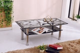 Valore Pattern Design Coffee Table with Chrome Frame and Shelf