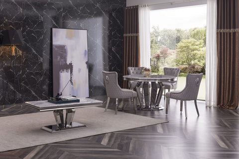 Alessandro Marble Round Dining Table with 4 Chairs, Premium Quality Marble Dining Kitchen Table Set
