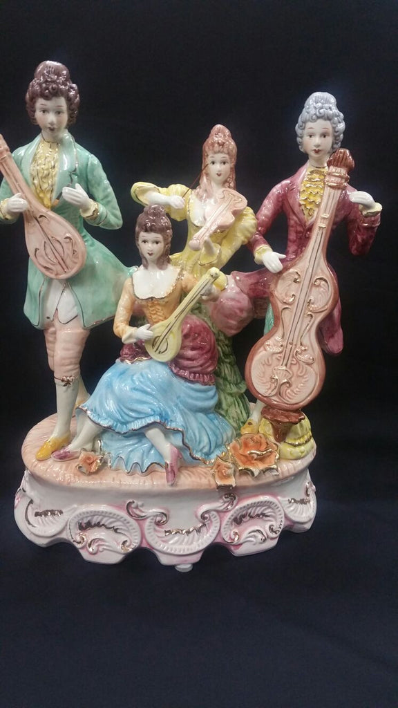 Fully Hand Painted Figurine Campodimonte Style Porcelain Ceramic Home Decor