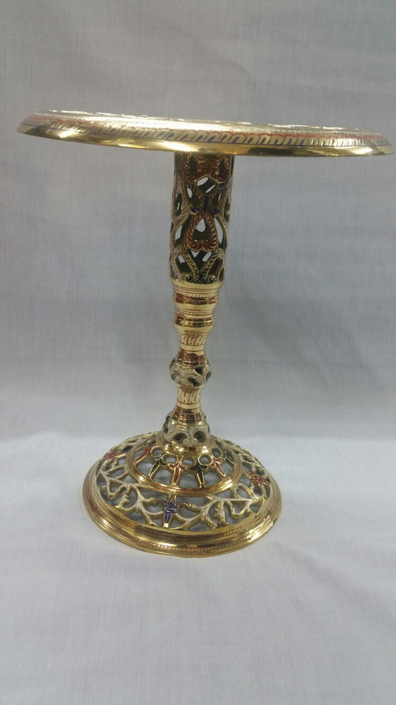 Brass Side Table Hand Painted 33 cm High Antique Style Imported from India