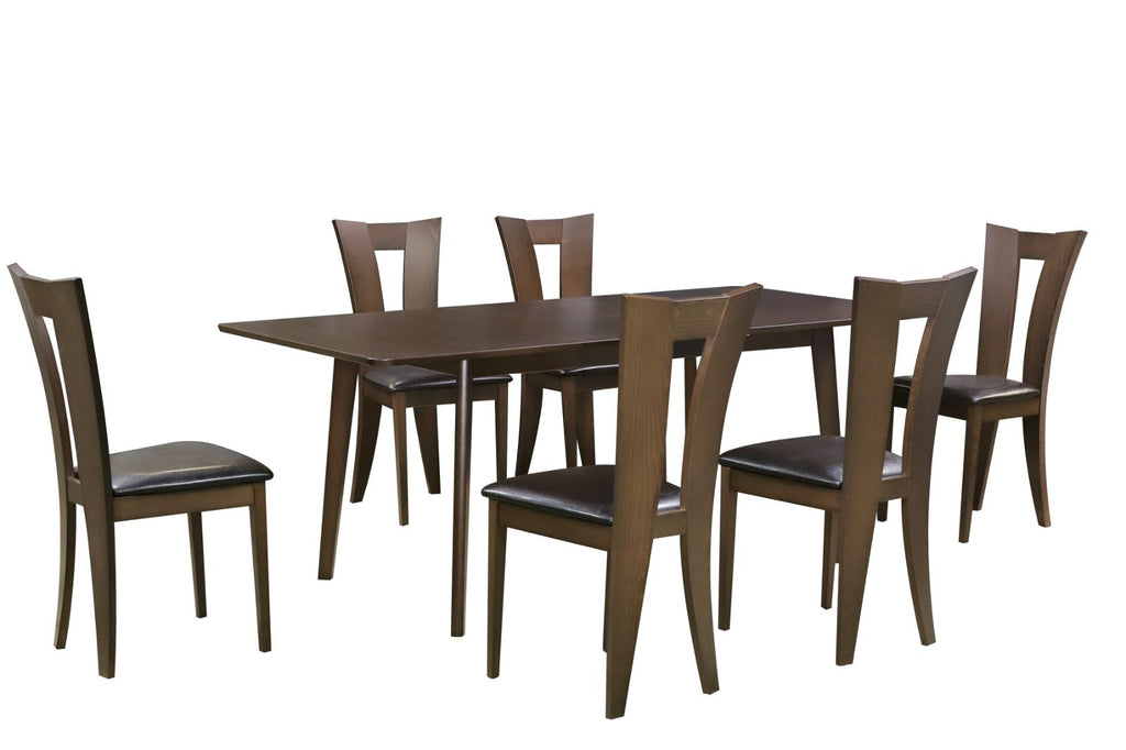 Legnoso Wooden Extendable Dining Sets in Beech or Walnut Colour with 6 Chairs with PU foam seat pad.