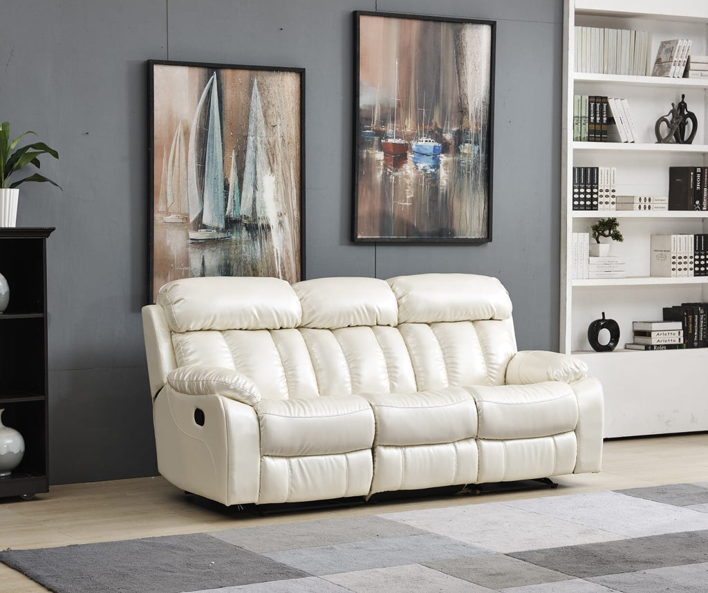 Bonded Leather Manual Recliner Luxury Soft Sofa Warehouse Deal