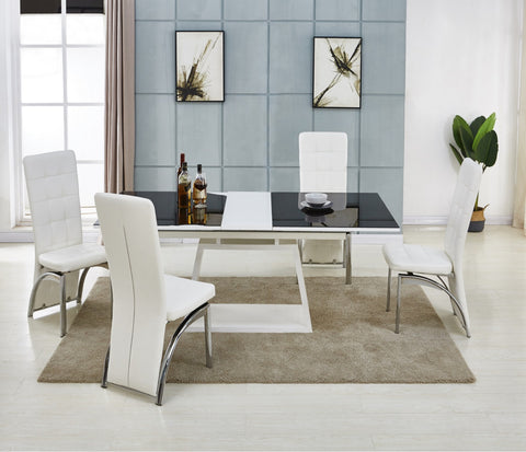 Modernique® Present Concetta Extending Dining Table with 4/6 Chairs of your Choice Available in Black & White