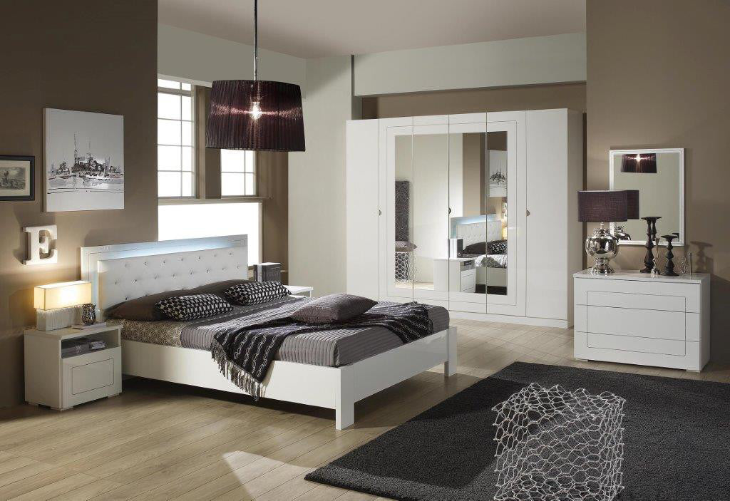 E Italian High Gloss White Premium Quality Complete Bedroom Sets Made In Italy