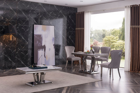 Alessandro Small 130 Marble Dining Table and with 4 Chairs, Marble Dining with Stainless Steel