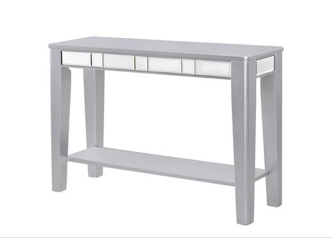 Argento Metallic Silver Console Table Shelf, Hallway Table with Mirror Inlaid