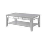 Argento Metallic Silver Grey Coffee table with Bevelled Mirror Inlaid, with Shelf Unit