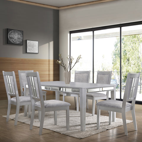 Metallic Inlaid Dining Table & 6 Chairs Set Silver with Bevelled Mirror Solid made 6 Chairs with Foam Padded