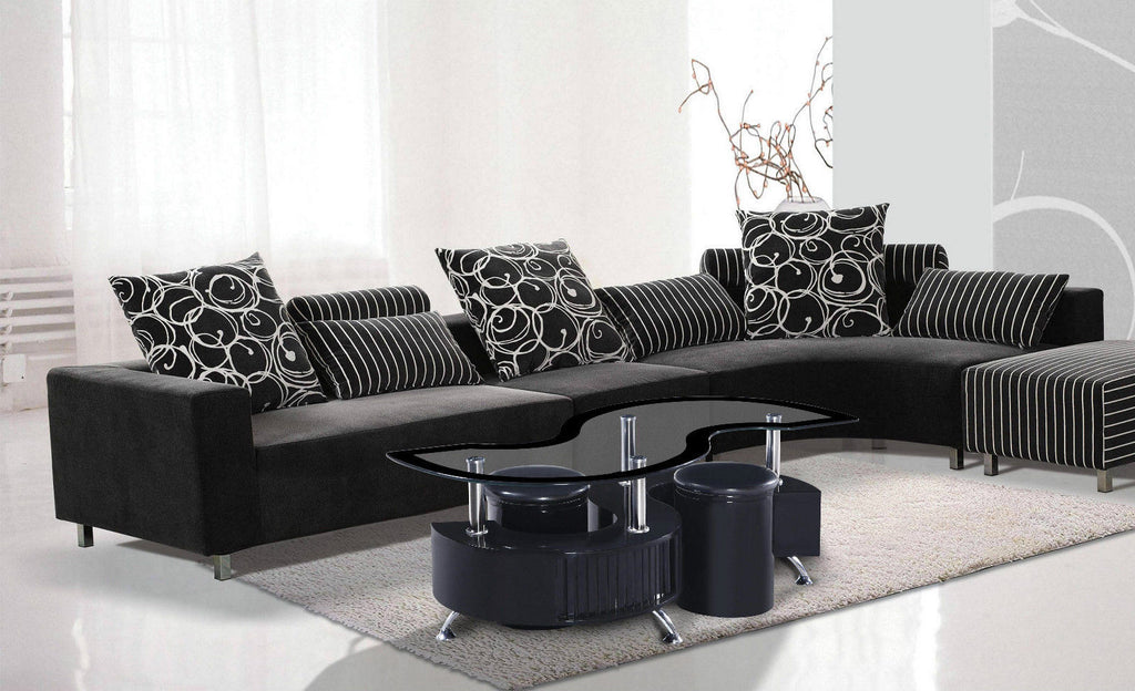 S Shape Glossy U0026 Matching Border Coffee Table With 2 Storage Stools U0026  Drawers Available In