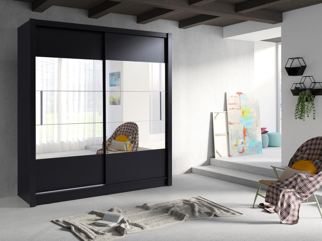 German Style Sliding 2 Door 185cm Modern Large Mirrored Wardrobe Available in Black White & Oak